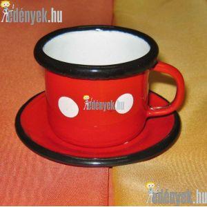 Zománcozott kávésbögre tányérkával