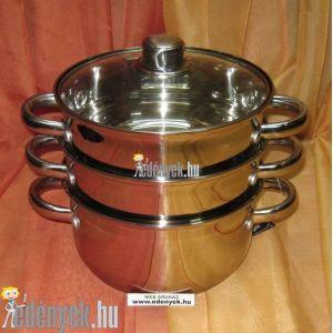 Indukciós pároló edény 4 részes 3,5 literes