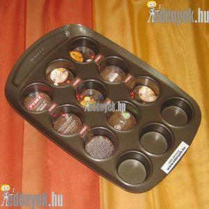 Muffin sütőforma kerámia bevonattal 12 részes