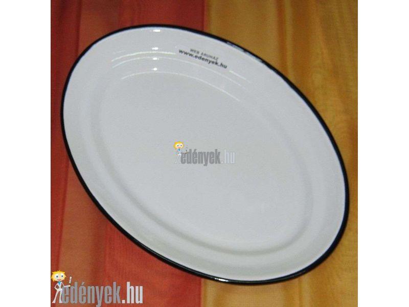 Zománcozott ovális tálaló tányér 38 cm